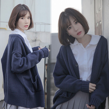 College sweater jacket women's spring and Autumn 2009 new Korean version of students'lazy knitted cardigan