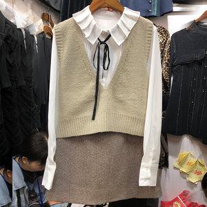 秋冬款日系小清新学生套装女文艺三件套衬衫+针织背心+呢子半身裙