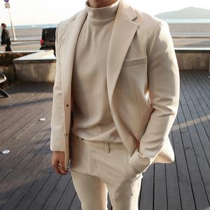 新款韩国代购男装商务套西装男士韩版修身职业休闲西服套装SET089