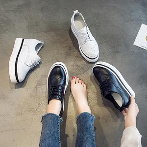 内增高<span class=H>女鞋</span>厚底松糕鞋坡跟休闲<span class=H>鞋子</span>女2018秋季新款布洛克小白鞋女