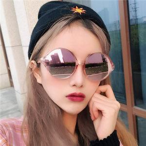 韩版复古个性圆形超轻女大框显瘦嫩粉反光色少女萌系太阳眼镜<span class=H>墨镜</span>