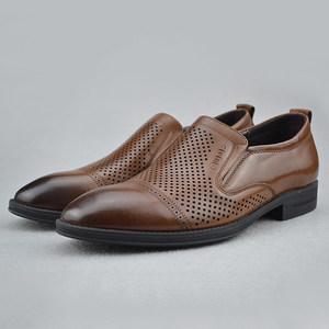 孚德鞋业夏款<span class=H>男鞋</span>圆头皮凉鞋套脚四季鞋立跟打孔牛皮商务正装包邮