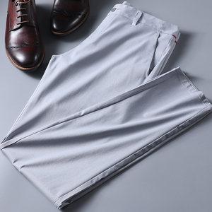 青春活力 夏季垂感丝滑免烫浅色男裤男士高端时尚修身商务休闲裤