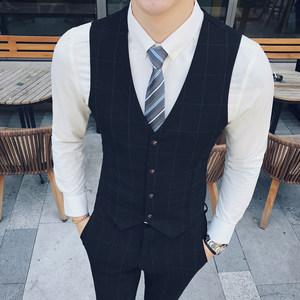 <span class=H>马甲</span>男英伦韩版潮修身休闲小发型师薄款西装西服正装格子男士夏季