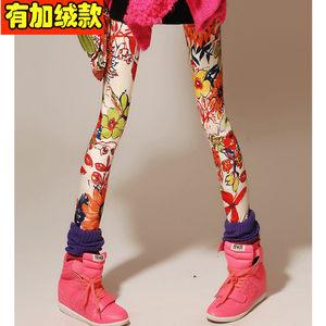 紧身长裤时尚彩色涂鸦印花碎花<span class=H>裤子</span>显瘦打底裤女冬季加绒加厚款潮