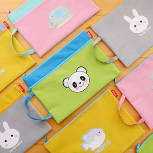 创意卡通萌小熊A4文件袋 学生女士可爱帆布试卷收纳袋带提手 包邮