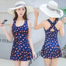 Tao Yang sports conjoined plain swimsuit, female covered belly, thin skirt style student fashion conservative hot spring big size swimsuit.