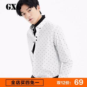 GXG<span class=H>男装</span> 男士<span class=H>时尚</span>休闲修身款白底黑点长袖衬衫男#53103106