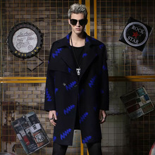 Lightning Tide New Winter 2018 Medium-length Fabric Overcoat Men's Black Shoulder-down Turn-collar Fabric Overcoat Men's Style