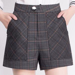 <span class=H>短裤</span><span class=H>女</span>春夏款外穿高腰A字大码黑色<span class=H>方格</span><span class=H>休闲</span>打底显瘦阔腿裤热裤