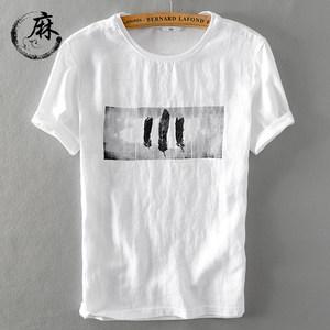 亚麻t恤男短袖 夏季新款韩版潮流麻体恤青年半袖男装休闲学生�B��