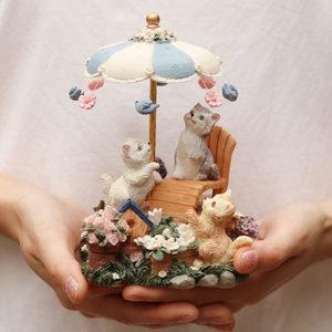 可爱猫咪摆件<span class=H>音乐盒</span>八音盒女生欧式旋转生日快乐创意情侣儿童礼品