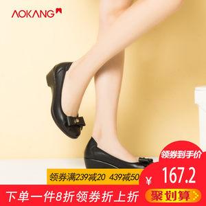 奥康<span class=H>女鞋</span>2019春季新款舒适坡跟真皮工作鞋妈妈鞋甜美蝴蝶结单鞋女