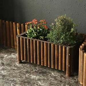 防腐碳化木加厚圆棒长方形花盆实木<span class=H>花箱</span>花槽户外阳台庭院种植花盆