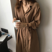 Spring suit 2019 new Korean version of Hong Kong-flavored chic loose overcoat tied waist-thin medium-long windbreaker jacket woman