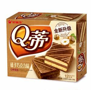 三盒包邮 好丽友Q蒂12枚装涂层糕点摩卡味/榛子巧克力味蛋糕336g