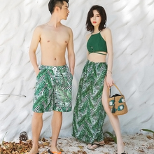 Swimming suit couple suit Korean women's three-piece skirt type small chest sexy Holiday Beach Hot Spring swimsuit beach trousers man