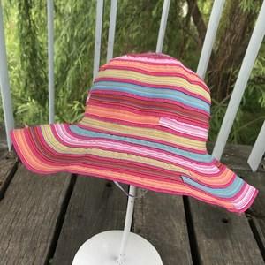 条纹彩虹布帽女春夏天度假出游太阳帽可折叠名族风沙滩大檐渔夫帽