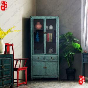 新品新中式实木仿古<span class=H>书柜</span> 单体立柜 复古定制家具做旧储物柜玻璃
