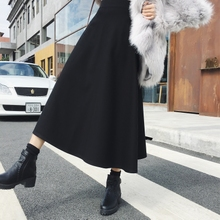 High waist black skirt female spring 2019 new long umbrella skirt Korean version of the skirt long skirt a word skirt