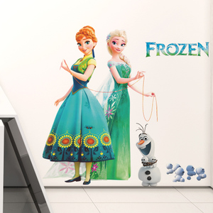 迪士尼正品授权冰雪奇缘装饰环保材质儿童房卧室美化<span class=H>墙贴</span>自粘防水