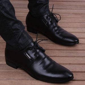 韩版尖头皮鞋男发型师内增高<span class=H>男鞋</span>青少年商务休闲鞋<span class=H>牛皮</span>透气鞋潮男