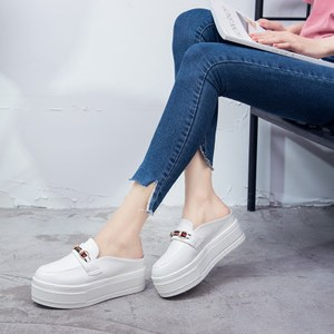包头半拖鞋女外穿2019夏季新款时尚百搭懒人鞋松糕厚底高跟<span class=H>凉拖鞋</span>