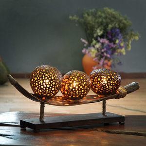 东南亚风格泰国椰壳装饰<span class=H>台灯</span> 艺术创意客厅玄关桌灯 卧室床头灯