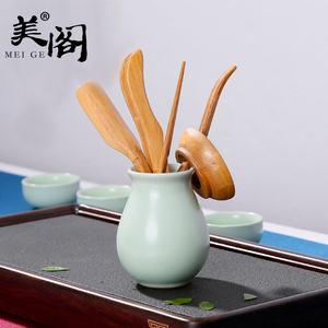 美阁汝窑零配件黑檀竹制陶瓷功夫茶具茶道六君子茶夹茶勺组合茶艺