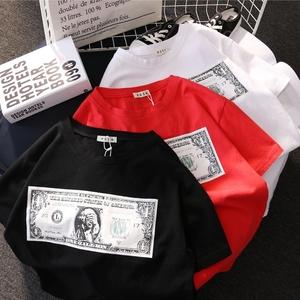 欧洲站<span class=H>潮流</span>夏季<span class=H>女装</span>时尚百搭上衣宽松字母钞票印花中长款短袖T恤