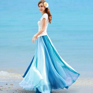 春夏新款沙滩裙拼色金丝雪纺半身长裙度假拼接高腰百搭<span class=H>纱裙</span>仙女裙