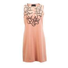 BOUTIQUE MOSCHINO Sleeveless Dress Made of Orange Pink Auricular Edge Printing Mixed Material