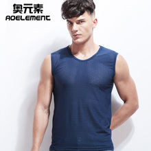 Summer thin men's sports fitness shoulder wide shoulder breathable shoulder mesh quick-drying ice silk vest V-neck sleeveless T-shirt
