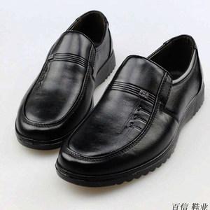 霸霖鸟头层牛皮鞋男士软底中年休闲鞋中老年男鞋爸爸鞋真皮鞋<span class=H>单鞋</span>