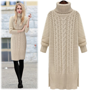 欧美冬季新款中长款高领<span class=H>毛衣</span>宽松长袖加厚麻花修身打底针织衫女潮