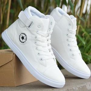 秋季男士高帮帆布鞋透气白色休闲鞋青少年学生布鞋板鞋韩版潮鞋