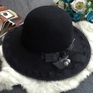 蕾丝蝴蝶结羊毛呢<span class=H>帽子</span>女秋冬季时尚韩版潮圆顶大沿黑色礼帽女英伦