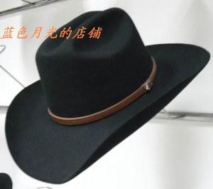 2017新品羊毛<span class=H>礼帽</span>欧美原版牛仔帽<span class=H>硬</span>顶纯西部毛呢大檐帽子