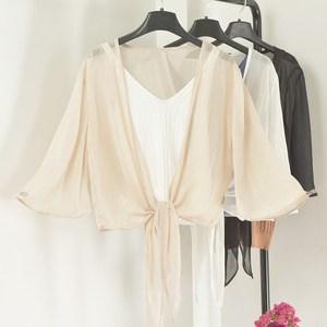 防晒披肩女系带薄纱外搭坎肩夏季新款喇叭中袖雪纺亮丝小开衫外套