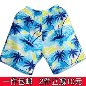 海南岛服沙滩裤男宽松五分裤纯棉薄款情侣装海边套装大裤衩棉短裤