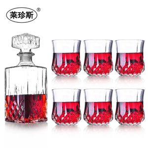 <span class=H>水晶</span>玻璃酒樽+钻石古典威士忌美人鱼酒杯玻璃杯啤酒杯酒瓶套装