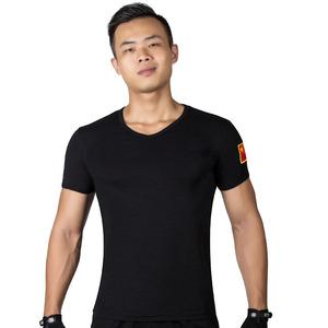 军旅风服饰户外特种兵军迷装 男士修身紧身V领短袖战术迷彩T恤衫