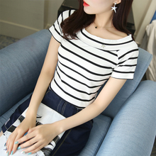 A T-shirt with one-collar stripes and short sleeves for female students in summer 2019 new Korean version of slim and slim cotton jacket