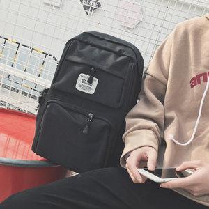 韩国时尚潮流学生背包帆布男书包韩版潮学院风日韩休闲双肩旅行包