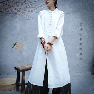 冬季文艺复古日常汉服中国风盘扣禅服长款加绒棉麻<span class=H>风衣</span>外套茶服女