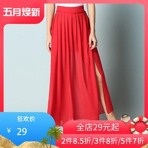 簡朵<span class=H>女裝</span>新品百搭開叉微百褶時尚中長款雪紡<span class=H>半身裙</span>裙子B51108