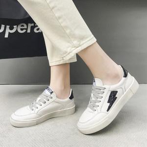 29新款头层牛皮厚底小白鞋舒适猪皮软垫圆头系带休闲鞋女鞋<span class=H>板鞋</span>潮