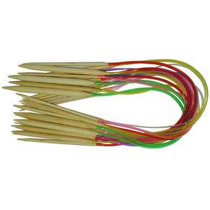 套装18付 <span class=H>竹</span>制彩管<span class=H>环形针</span> <span class=H>竹</span>毛衣针 细粗棒毛线针 编织工具