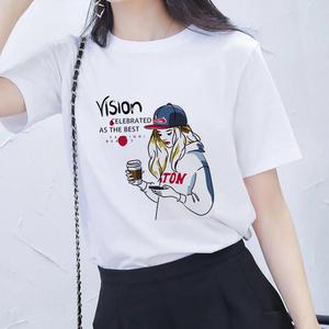 不起球白色短袖女T恤夏季韓版新款寬松小女孩印花半袖<span class=H>女裝</span>上衣棉