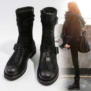 复古马丁靴<span class=H>女</span>冬加绒加厚保暖中筒靴英伦风<span class=H>女</span>鞋平底<span class=H>靴子</span><span class=H>女</span>高筒长靴